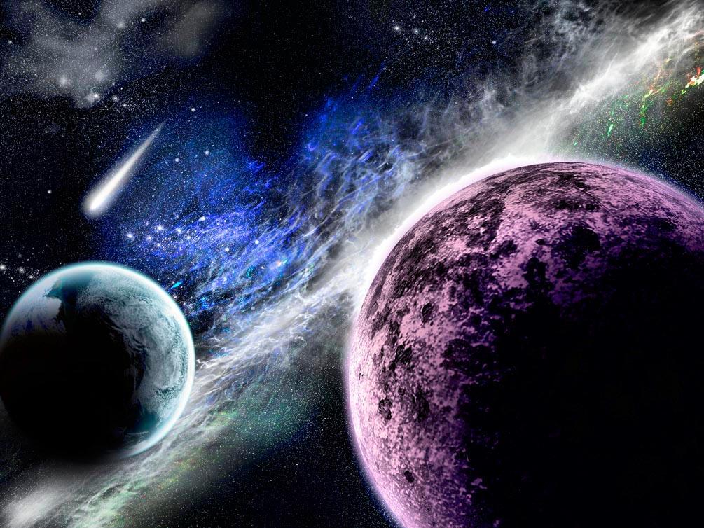 Фотообои Планеты и метеорит