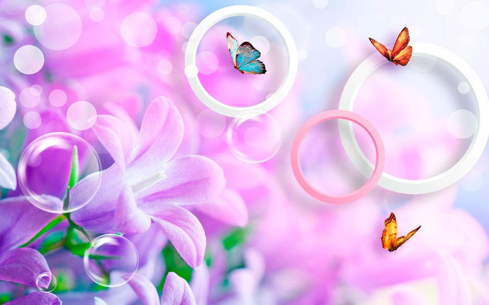 Фотообои Сирень и бабочки