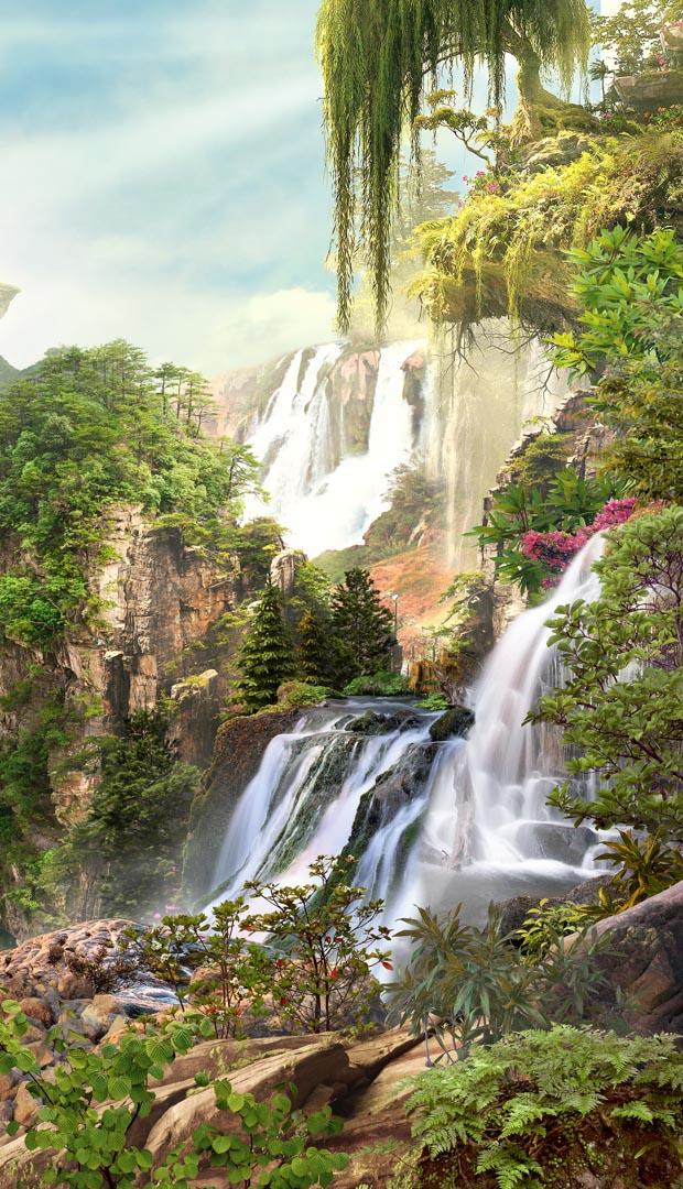 Фотообои два водопада на скале