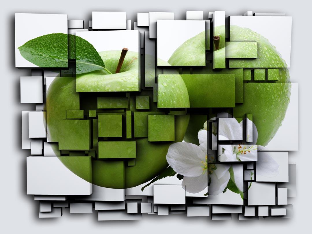 Фотообои яблоко на кубах 3Д