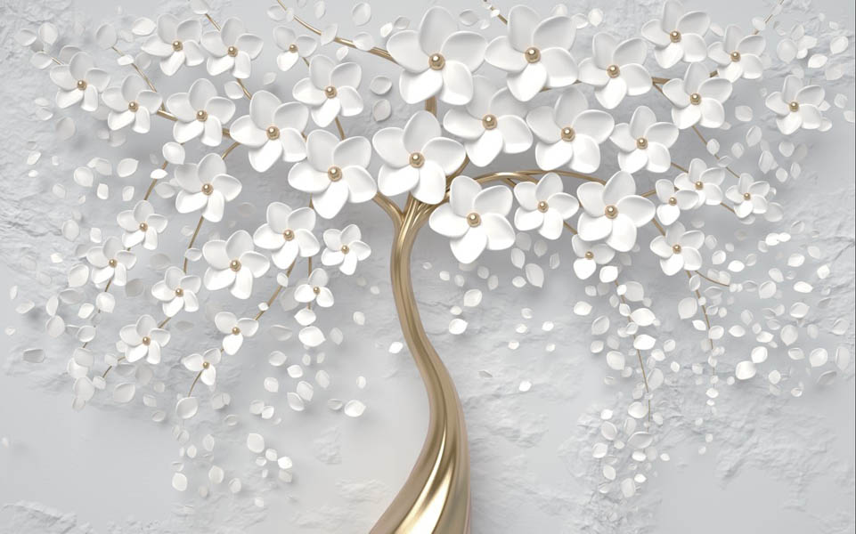 Фотообои Цветочное белое дерево