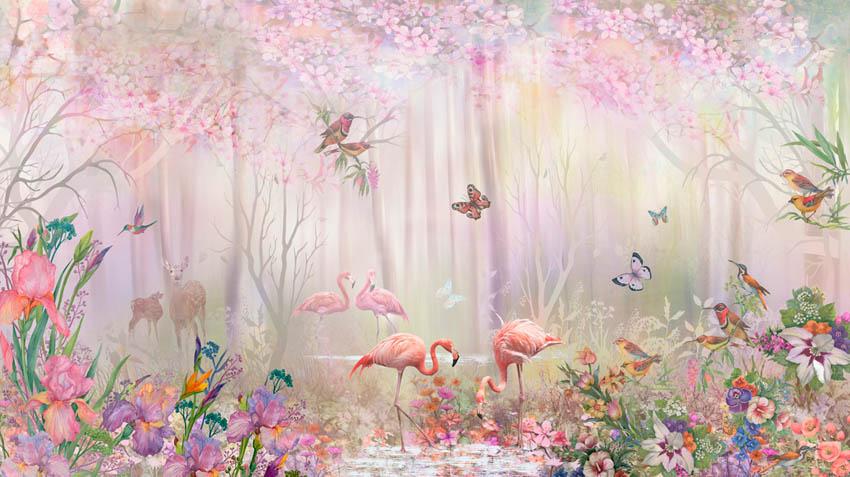 Фотообои Фламинго в сказачном лесу