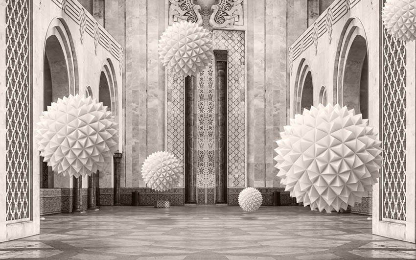 3д фотообои 3д шары в арках
