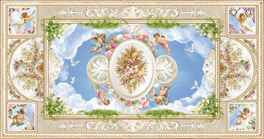 Фотообои ангелочки для потолока