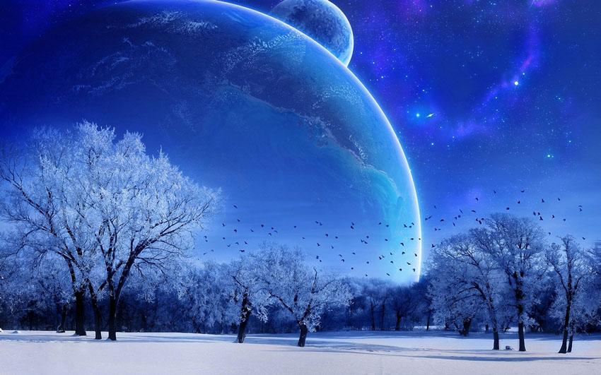 Фотообои Зимний космос