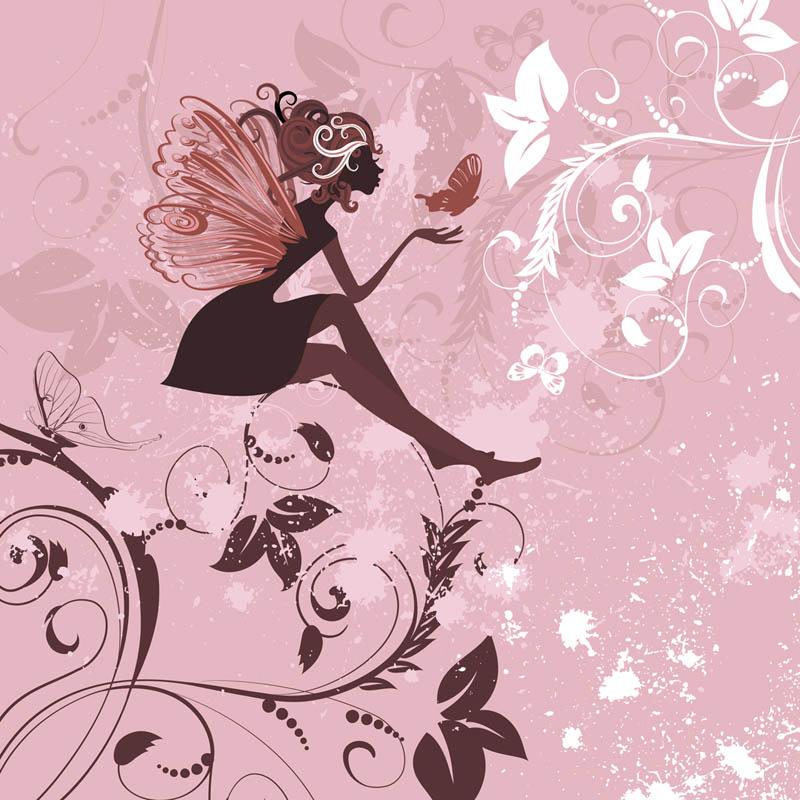 Фотообои Фея на розовом фоне