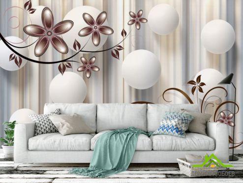 обои цветы 3d Фотообои  Цветы на коричневом фоне
