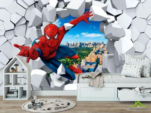 обои в детскую Фотообои Человек паук 3Д