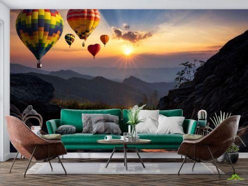 Природа Фотообои воздушные шары сердечки