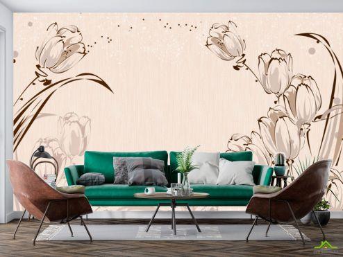 3Д  Фотообои Векторные тюльпаны 3Д