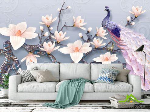 обои Восточный стиль Фотообои Цветы магнолии и павлин