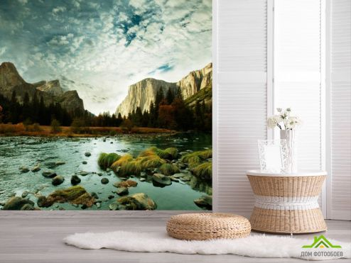 обои Природа Фотообои Хмурное небо, горы