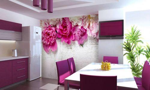 Фотообои в интерьере кухни с фото - Фотообои Пионы