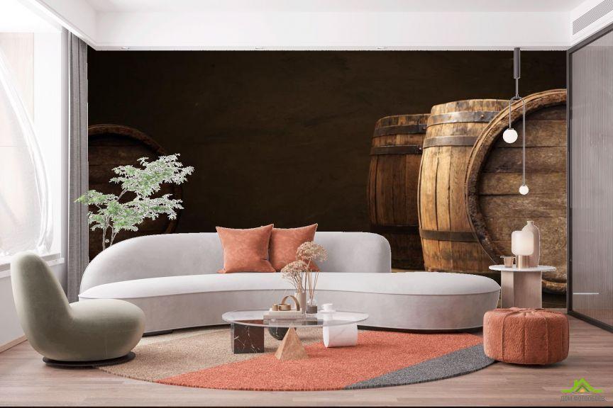 Фотообои бочки с вином