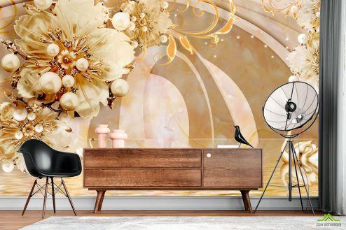 3Д  Фотообои  Тонель с золотыми цветами