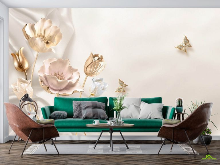 Фотообои Золотые 3д цветы