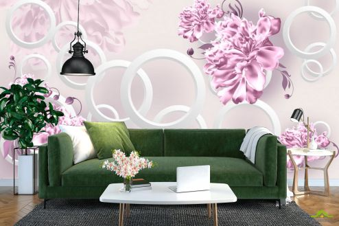 цветы 3d Фотообои Фиолетовые пионы и круги