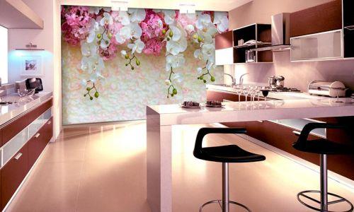 Фотообои в интерьере кухни с фото - Фотообои Стена, цветы