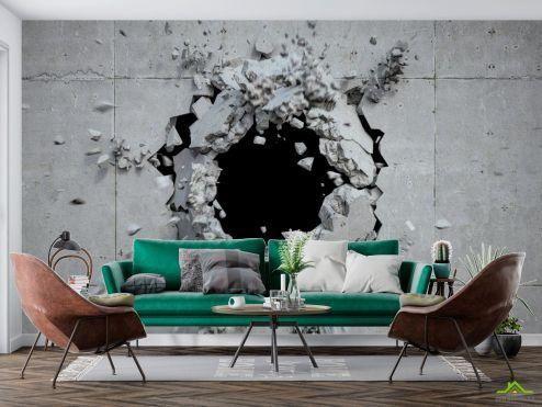 лофт Фотообои Разбитая каменная стена