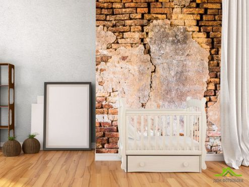 Обои под кирпич Фотообои Коричневая вертикальная стена