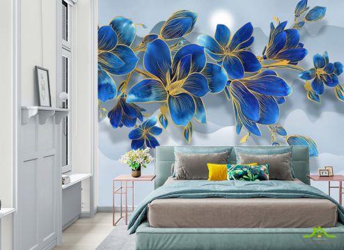 Фотообои в спальню по выгодной цене Фотообои Синие цветы 3д
