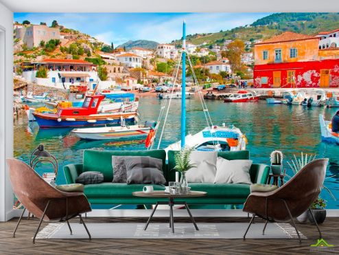 Греция Фотообои Лодки на Греческих островах