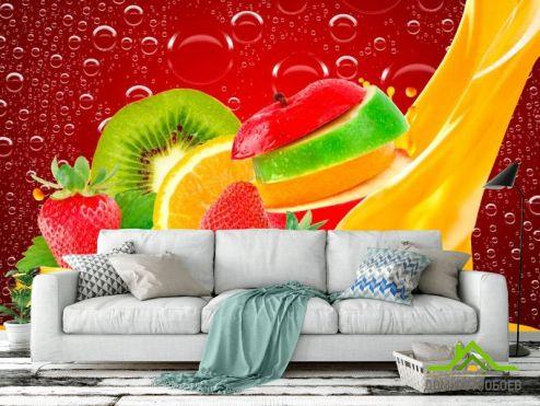 Фотошпалери, колір: «червоний» Нарізані фрукти, ягоди
