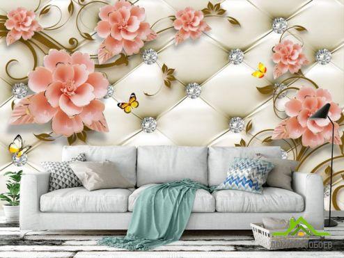 3Д  Фотообои Керамические цветы на фоне оббивки