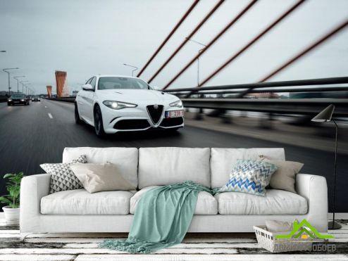обои Транспорт Фотообои роскошная белая машина на мосту