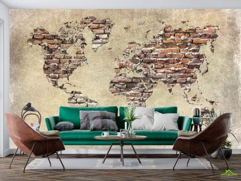 Карта Фотообои Карта из кирпичей