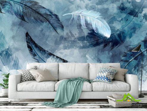 перья Фотообои Синие акварельные перья