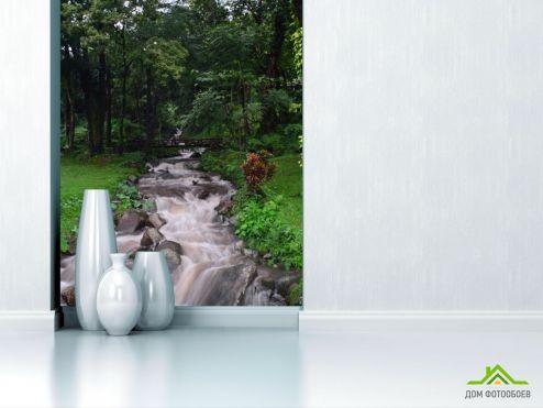 обои Природа Фотообои серый водопадик на ручье