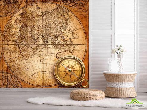 обои Винтажный Компас Фотообои Карты и компас