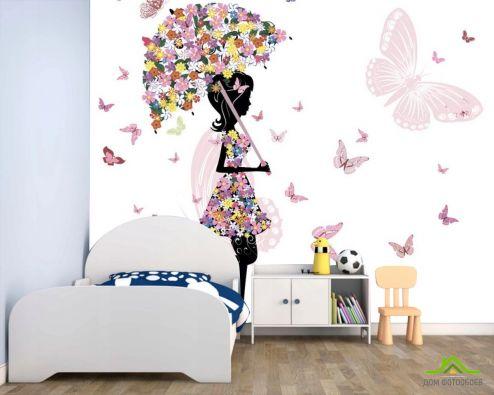 для подростка Фотообои Фея под цветочным зонтом