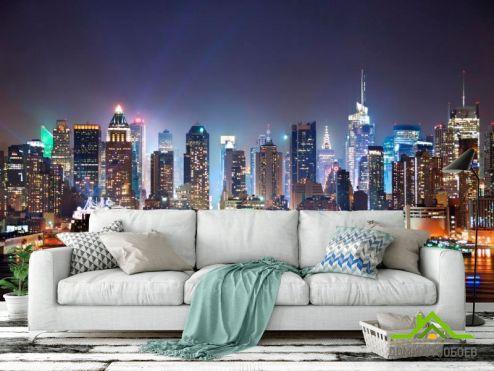 Фотообои Чикаго по выгодной цене Фотообои Могущественный ночной Чикаго