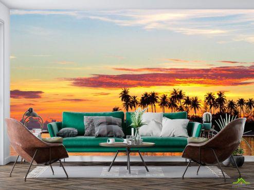Фотообои Природа по выгодной цене Фотообои пальмы и закат над морем