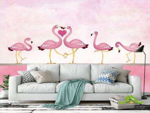 с Фламинго Фотообои Розовые фламинго  купить
