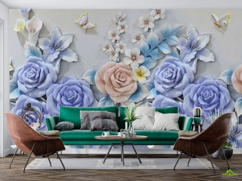 3Д  Фотообои Роз и бабочки купить