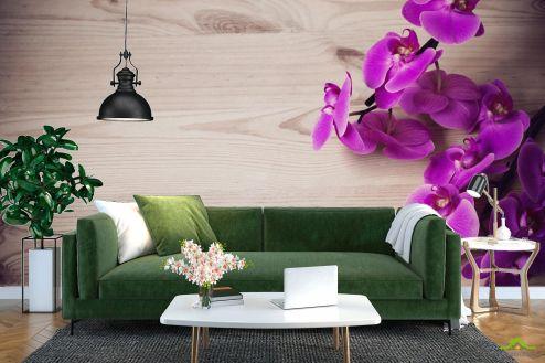 Орхидеи Фотообои фиолетовая орхидея на деревянном фоне