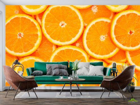 Еда и напитки Фотообои Нарезанные апельсины