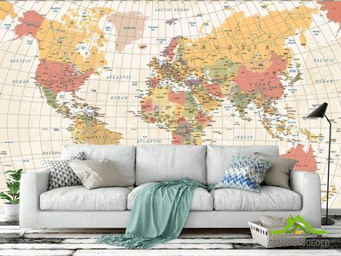 Карта Фотообои Карта мира в бежевых тонах