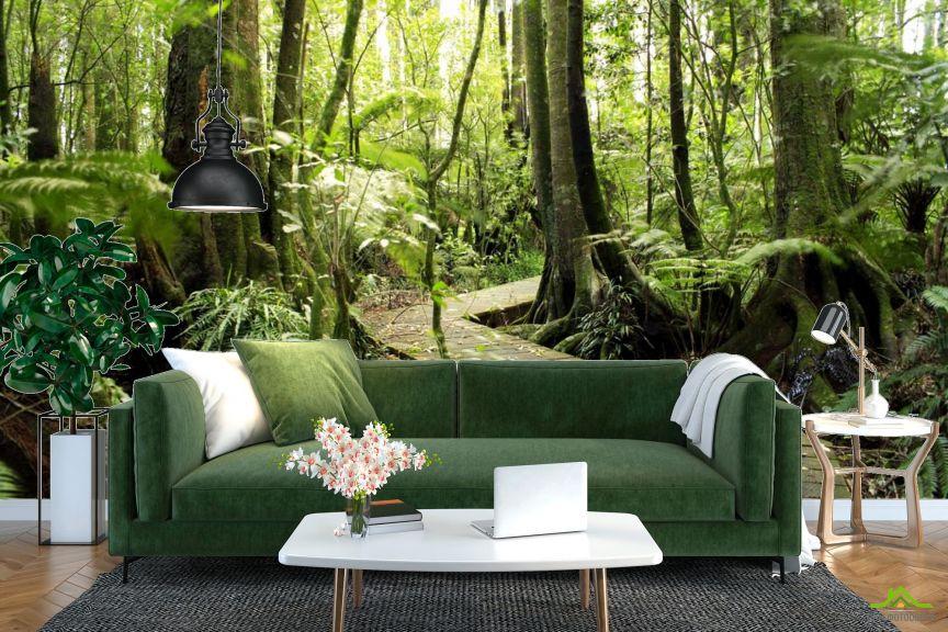 Фотообои деревянная дорожка в лесу