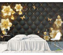 Фотообои 3д золотые цветы топлер