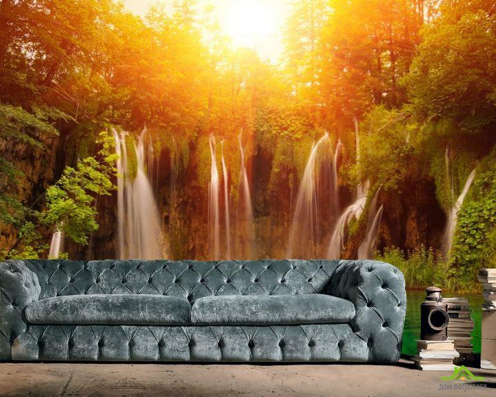 Фотообои солнце над водопадом