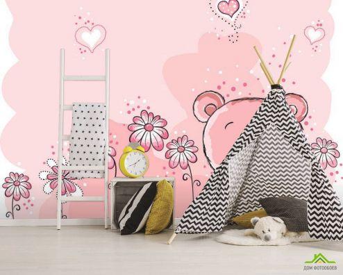 обои для малышей Фотообои Розовые мишки
