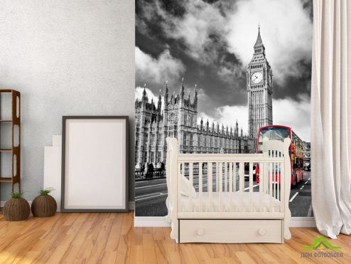 Серые обои Фотообои Автобус в лондоне