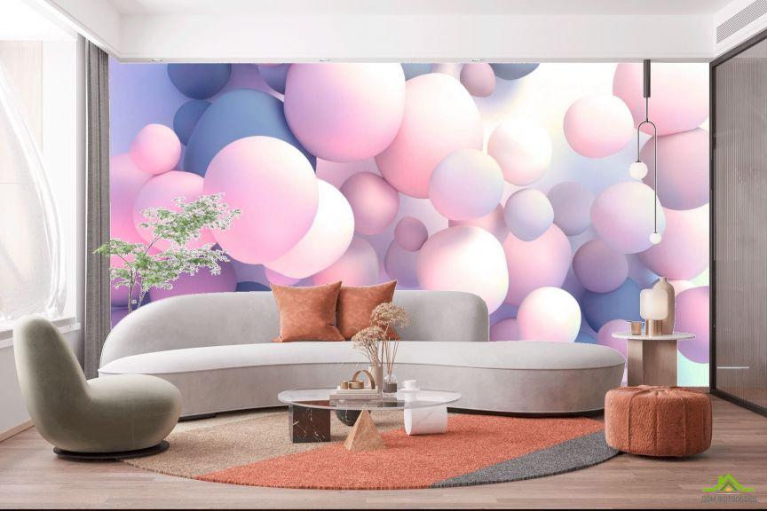 Фотообои Розовые 3д шары