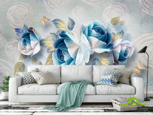 3Д обои Фотообои Синие цветы