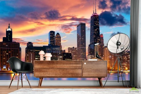 Чикаго Фотообои Закат, город, вода в Чикаго