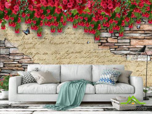 3Д обои Стена с цветами 3д